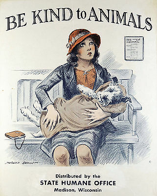 Be Kind To Animals Vintage Poster Print Humane Office Reprint Cruelty Prevention