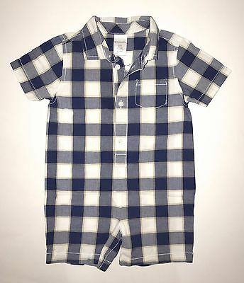 Gymboree Baby Boy Blue Plaid Romper One Piece Size 12-18 months