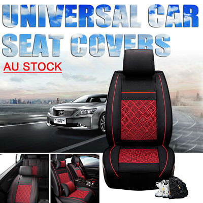 5 Car Seat Cover Interior Decor Universal Auto Cushion Black + Red PU Leather AU