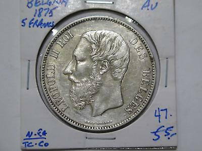 Belgium 1875 5 Francs Leopold Ii Silver Crown Size Old World Coin Collection Lot