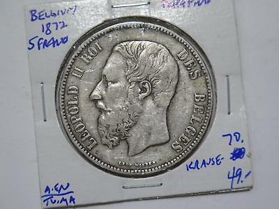 Belgium 1872 5 Francs Leopold Ii Silver Crown Size Old World Coin Collection Lot