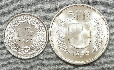 Lot Of 2 Nice Switzerland Silver Coins - 1966B 5 Francs & 1964B Franc