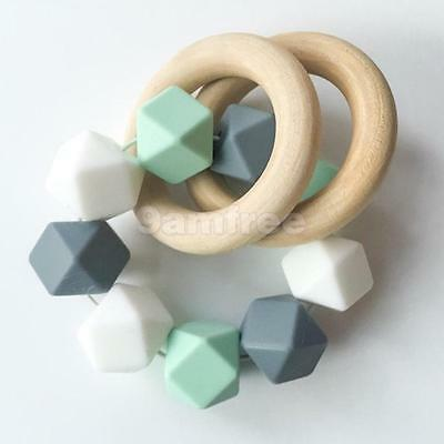 Lot 5pcs Baby Natural Round Wooden Teething Ring Teether Toy Wood Jewelry Craft
