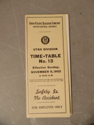 1952 Union Pacific Railroad Employee Timetable 13 Utah Division South-Central UP