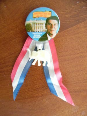 1981 Ronald Reagan Inauguration Day Pinback Button with Ribbon Elephant Charm VG