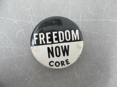 c.1962 FREEDOM NOW CORE Pinback Button Congress On Racial Equality Civil Rights