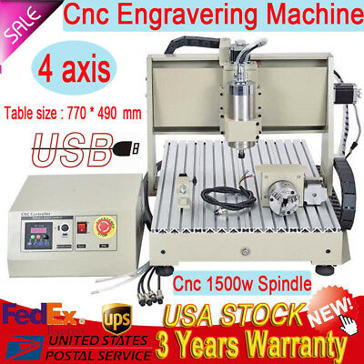 6040 1500W VFD 4 Axis CNC Router Engraver Engraving Drilling Machine Ballscrew