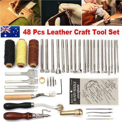 48Pcs Leather Craft Hand Making Tool Kit Sewing Stitching Thread Punch Groover