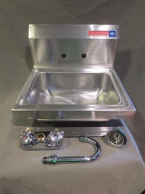 NEW Cecilware Commercial Stainless Steel Wall Mount Hand Washing Sink w/ Faucet