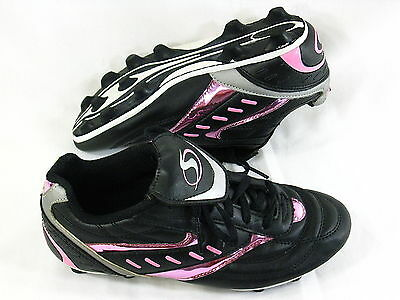 Sportek Soccer Cleats Youth Girls Size 3 US Black Pink Excellent