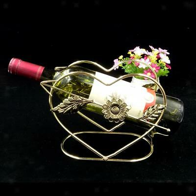 Heart Design Wine Bottle Holder Rack Bar Desktop Display Stand Bracket Gold