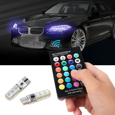 Remote Control T10 6SMD 5050 Car LED Multicolor Wedge Side Light Reading Lamp