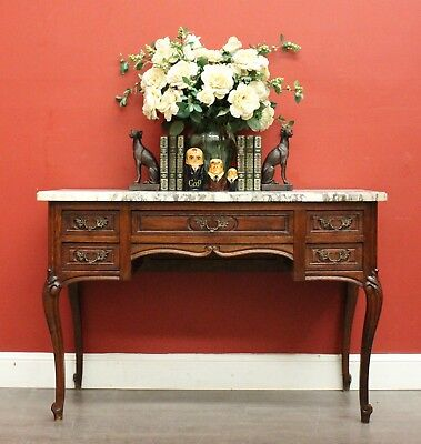 Antique French Oak and Marble Top 5 Drawer Desk - Hall Table - Dresser - Vanity