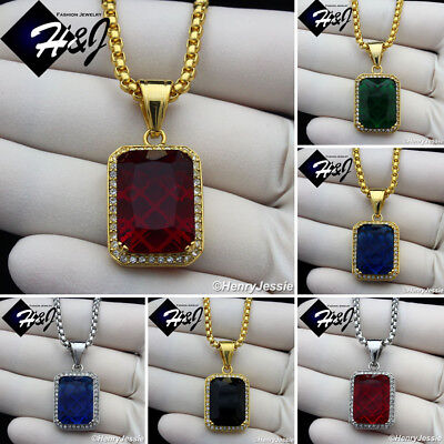 """Men Stainless Steel Necklace Vintage Red Ruby Gold Silver Cuban 18-36/""""Chain#P35"""