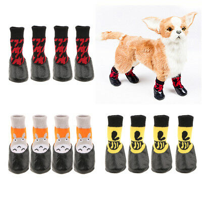 4pcs Pet Indoow Outdoor Wear Non-slip Socks Rubberized Soles Waterproof Socks