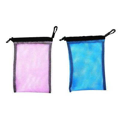 Blue+Pink Swimming Drawstring Mesh Bag Storage for Diving Scuba Snorkel Gear