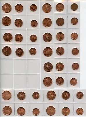 IRLAND IRELAND 2002 ~ 2015 1 + 2 + 5 Cent UNC Complete Set 14 Years 42 Coins