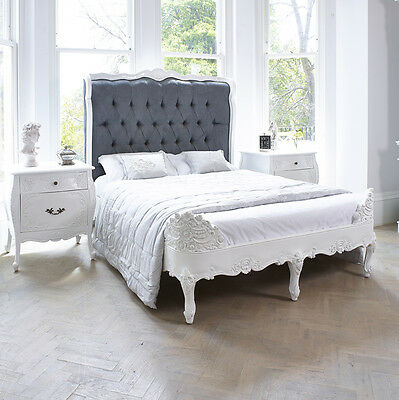 French Rococo Versailles Bed Double in French White with Grey Suede  RRP £2000