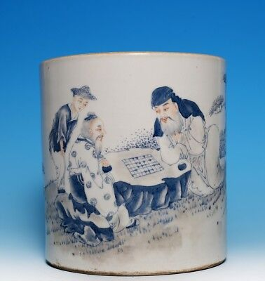 Antique Rare Chinese Ink-painting Porcelain Brush Pot Play Chess MinGuo FA650