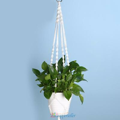 "47.24""  White Garden pot Lifting Rope Basket Flowerpot Plant Hanging Net Holder"