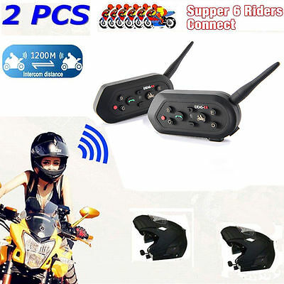 2 x 1200M Wireless Bluetooth Motorcycle Helmet Interphone Intercom 6 Riders
