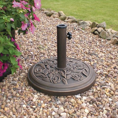 Cast Iron Effect Heavy Duty Metal Garden Banana Parasol Base Bronze Patio Stands