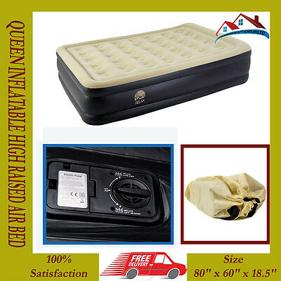 New Queen Inflatable High Raised Air Bed Mattres Airbed W Built In Electric Pump