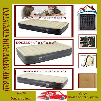 3 Sizes Inflatable High Raised Air Bed Mattress Airbed Built In Electric Pump