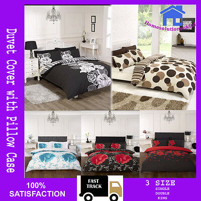 New Duvet Cover with Pillow Case Quilt Cover Bedding Set Double King All Size