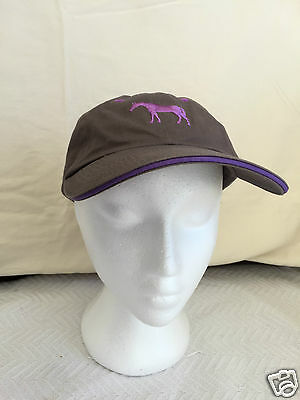 AERION HORSE Cap - GREY with PURPLE embroidery -Equestrian clothing hat supplies