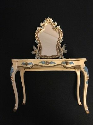 Dolls House Plastic Dressing Table - White Blue And Gold