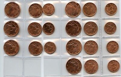 ZYPERN CYPRUS 2008 ~ 2014 1 + 2 + 5 Cent UNC Complete Set 7 Years 21 Coins