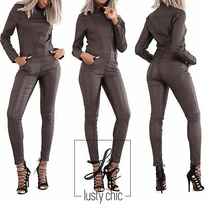Womens Black Long Sleeve Leather Look Skinny Fit Jumpsuit Catsuit Size 8-14