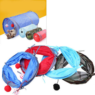 Pet Cat Toys Tunnel Collapsible Crinkle Kitten Play Tunnels 4 Colors 51.7 x 25cm
