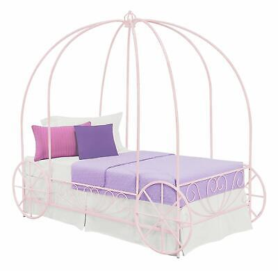 S Pink Twin Size Metal Canopy Bed Frame Princess Carriage Headboard Bedroom