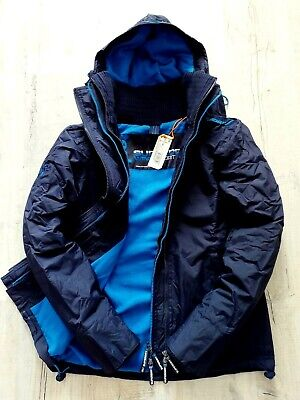 Superdry Mens Quilted Hooded Windcheater Jacket Black Fleeced Lined Bnwt Coat