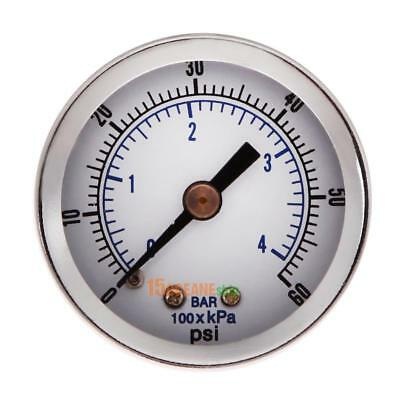 "1/8"" NPT Air Compressor / Hydraulic Pressure Gauge 0-60 PSI Back Mount 1.5"" Face"