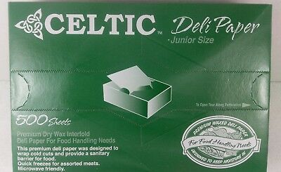 Deli Sandwich Paper 8 x 10.75 Dry Wax Interfolded Pop-Up Sheets 500 Pack Celtic