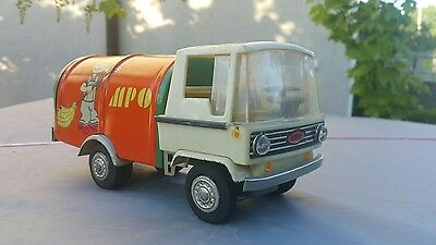 Vintage Truck Zbik Tin Toy Mpo Dumptruck Friction Plastic Rubber Poland Made