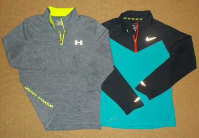 Lot of 2- Boys Under Armour & Nike 1/4 Zip Long Sleeve Athletic Shirts-Size L
