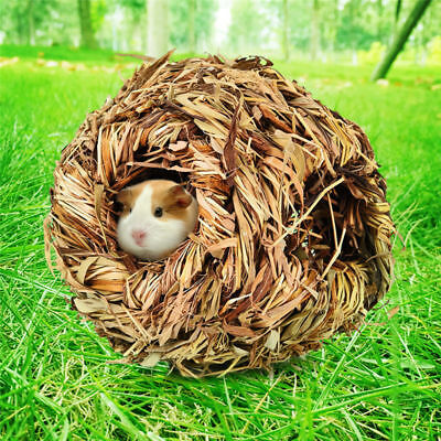 Pet Grass House Snooze Nest Bed Cabin Cave For Hamster Guinea Pig Chinchilla Rat