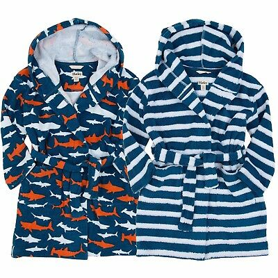 Kids Childrens Boys Girls Cotton Bathrobe Terry Towelling Hooded Bath Robe Gown