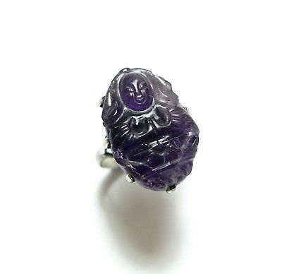 Beautiful Old Antique Chinese Silver & Carved Amethyst Buddha Ring Band M (A11)