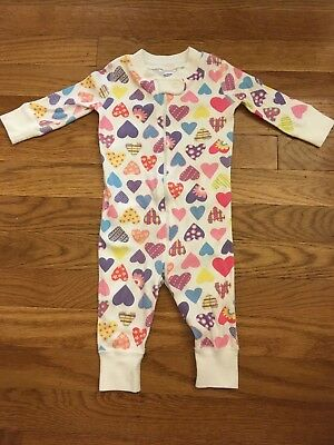 Hanna Andersson Hearts Girls Organic Sleeper Pajamas Size 60 (6-9 Months)