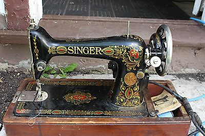 Antique Working 1922 SINGER Red Eye Pedal Sewing Machine G9251034 Vintage Home