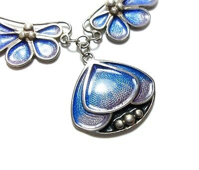 Beautiful Art Nouveau Style Pat Chetney Silver & Blue Enamel Necklace Boho (A15)