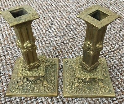 Pair of Antique Brass Candlestick Holder's Ornate Cherubs Flowers Church Rococo