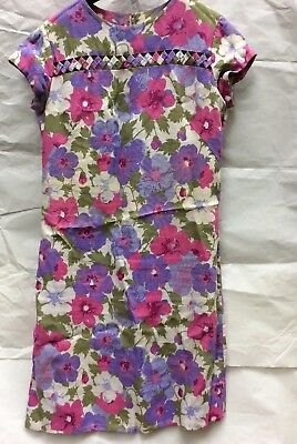 Linen Vintage Floral Straight Shift Dress Size 10 To 12 From The 1960's