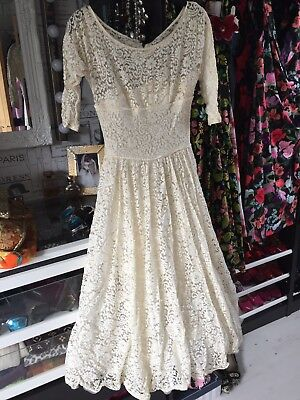 Vintage 1950's? Wedding Dress Lace With Full Skirt