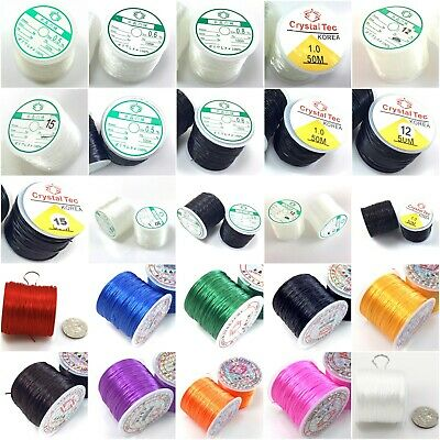 Elastic Stretch Beading Stringing Cord thread Black Clear White Blue Green Red